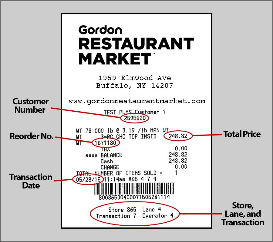 Gordon Restaurant Market Receipt