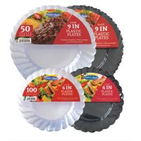 Caterer Choice Heavyweight Clear or Black Plastic Plates
